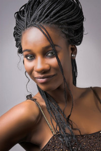beautiful african woman with braided hair
